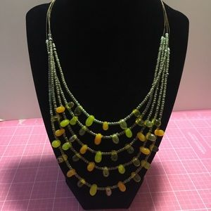 Multi Strand/Colored Seed & Glass Bead Necklace
